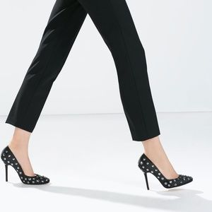 ZARA Embellished Court Shoes:Black, US 6.5/EUR 37